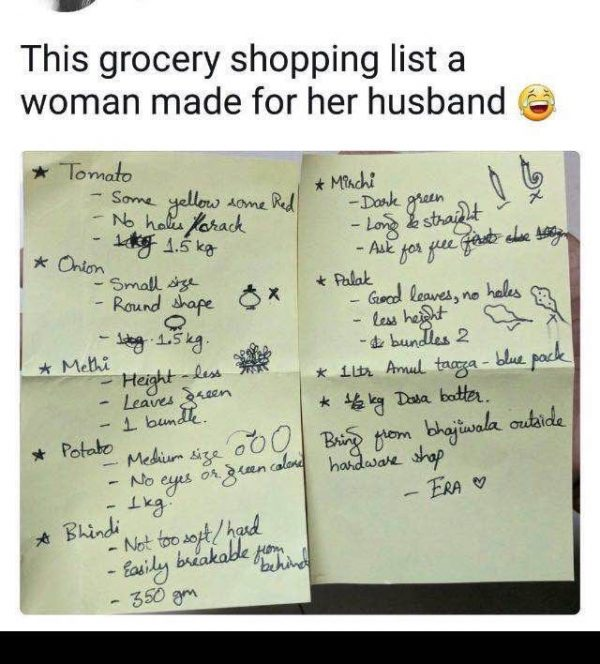 Grocery Shopping List to Husband
