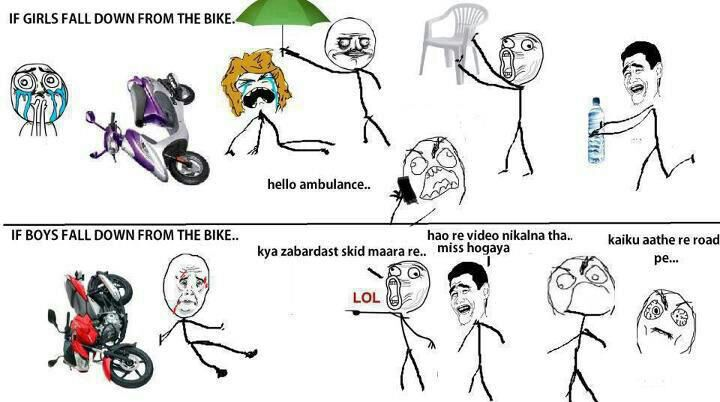 If Girls/Boys fall down from Bike Funny Meme