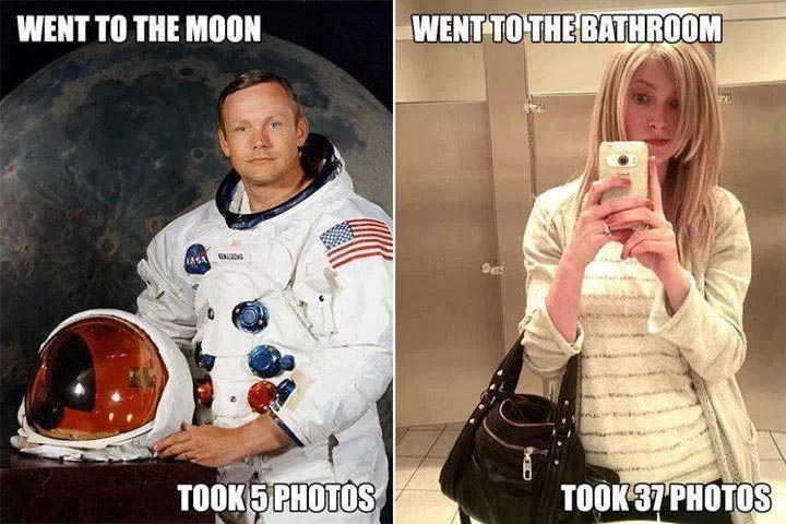 Moon VS Bathroom Selfie Funny Meme