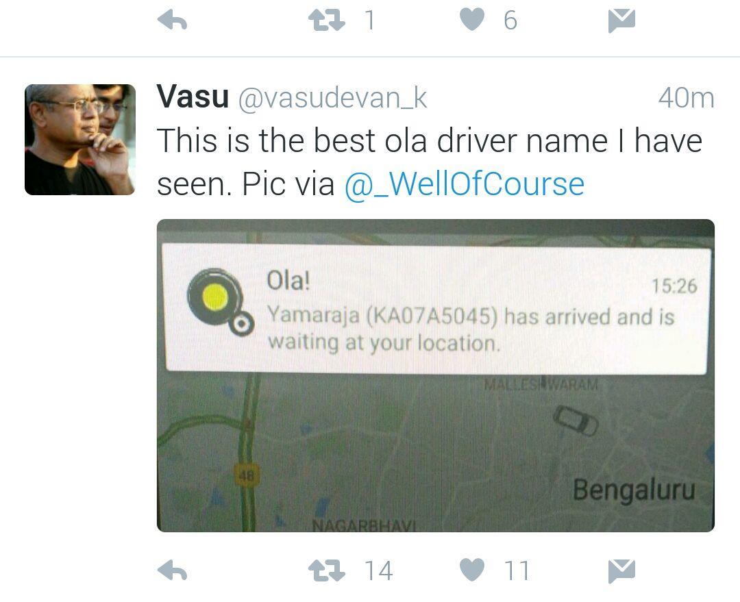 Ola Driver Name Yamaraja Funny Meme