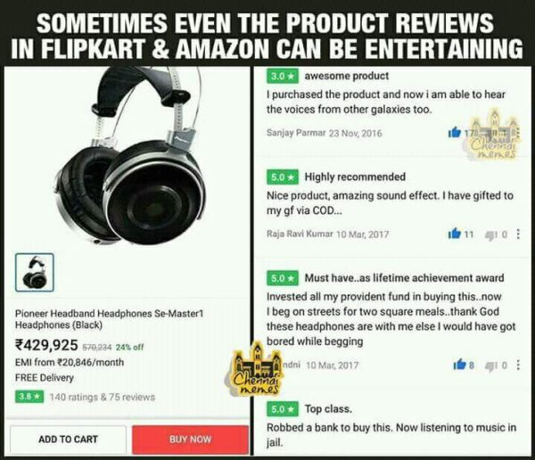 Product Reviews in Flipkart Amazon Funny Meme