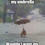 Raining Thank God I got Umbrella Funny Meme